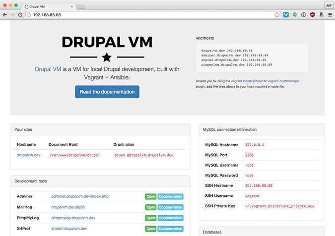 Panel Control Drupal VM