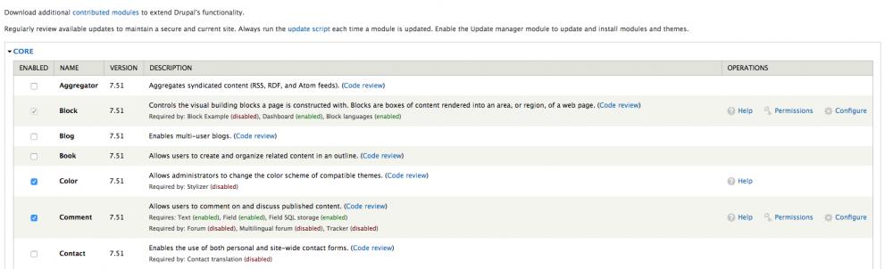 Lista módulos Drupal