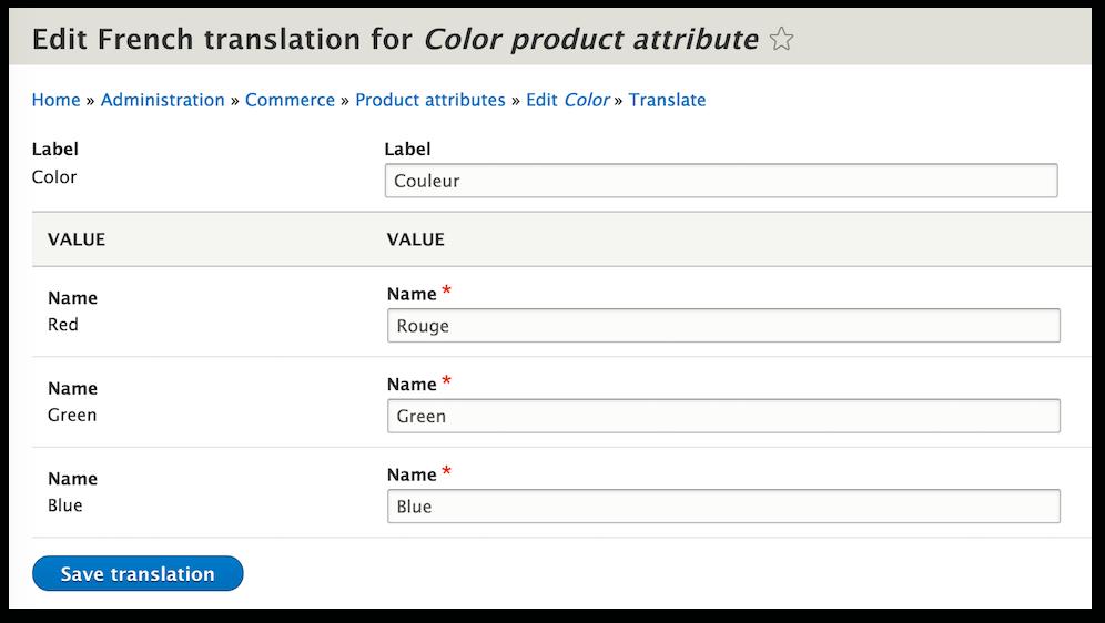 Traducciones Drupal Commerce 2.0